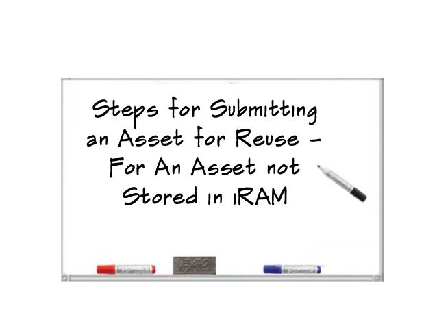 Steps for submitting an asset for reuse for an asset not stored in iRAM