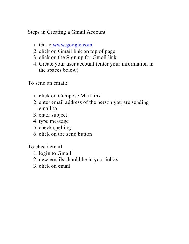 Steps In Creating A Gmail Account