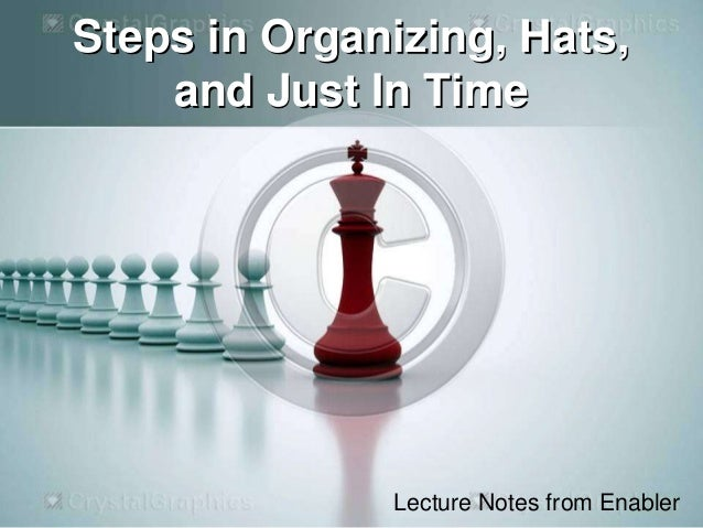 Steps in Organizing, Hats, and Just In Time