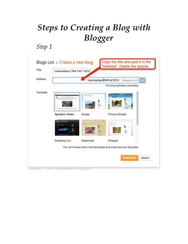 Steps to creating a blog with blogger