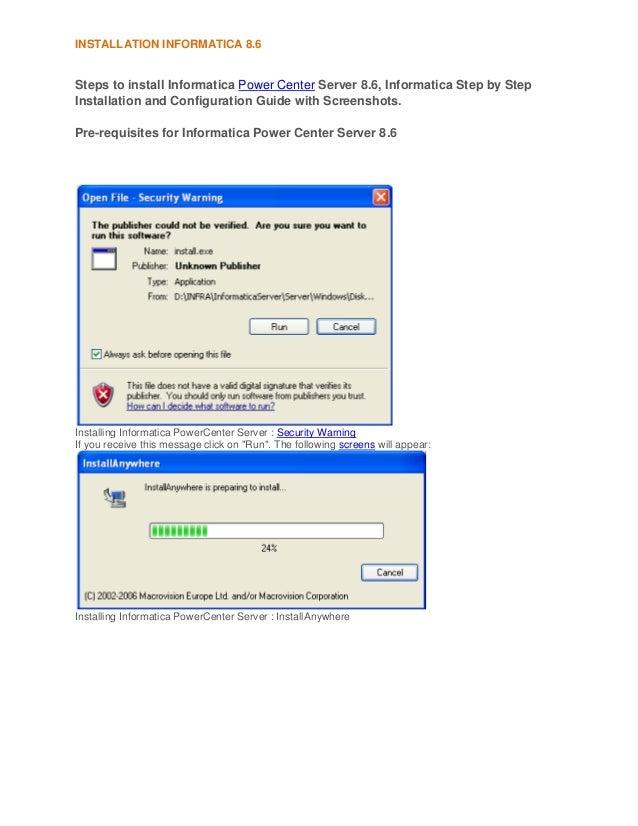Steps to install informatica