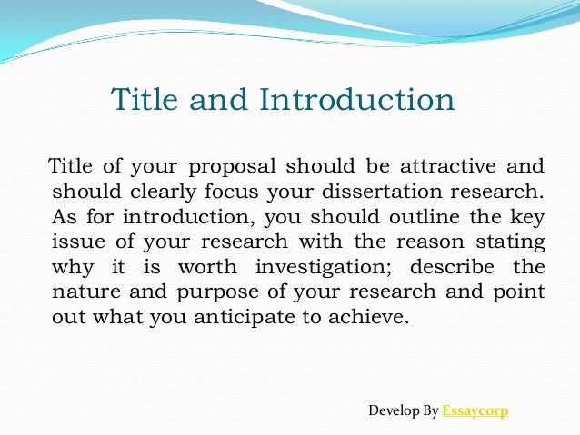 How To Write A Good Dissertation Proposal