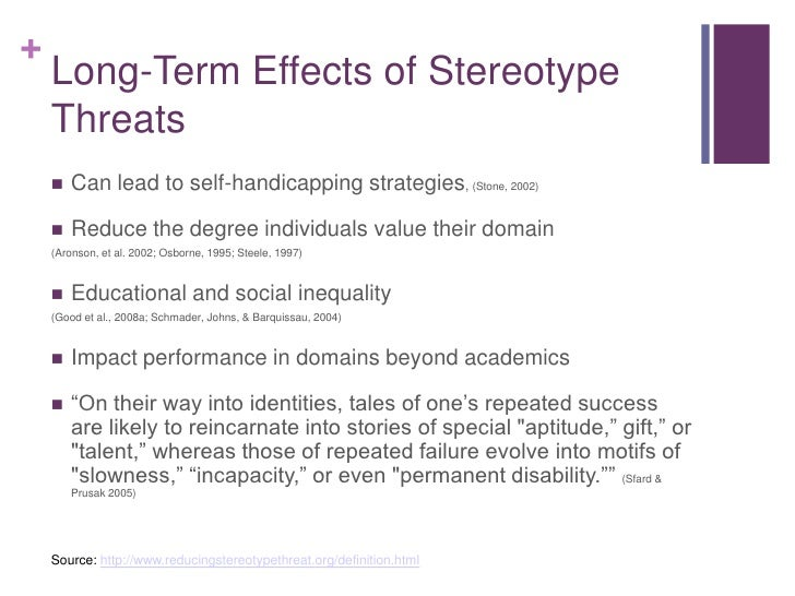the effects of stereotype threats Reducing the effects of stereotype threat on african american college students by shaping theories of intelligence joshua aronson new york university.