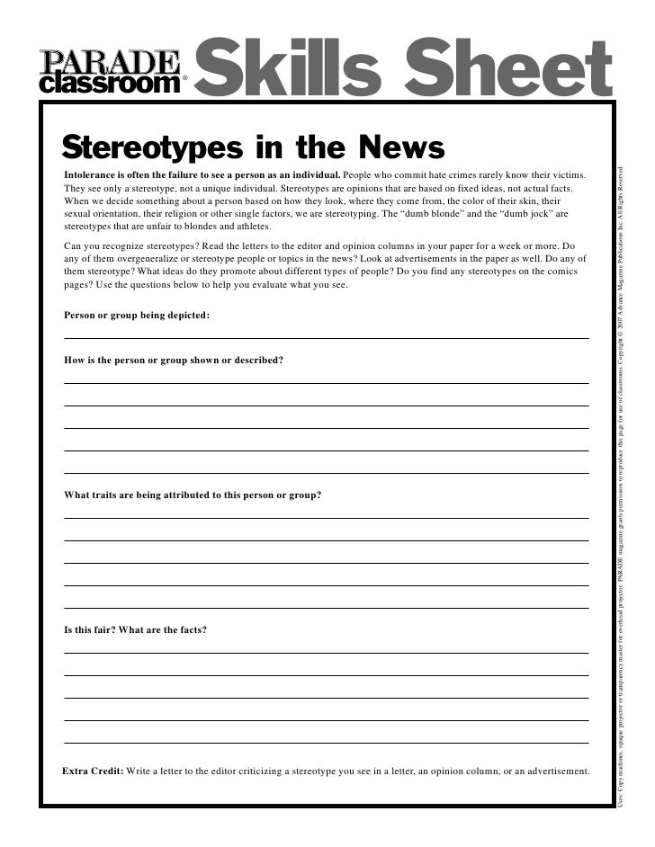 classroom                     ®                                    Skills Sheet  Stereotypes in the News                  ...