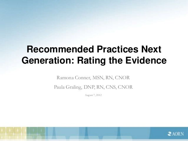 Sterilization Recommended Practice: Based on Evidence