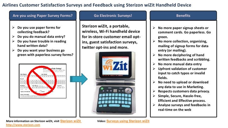 Airlines Customer Satisfaction Surveys and Feedback using Sterizon wiZit Handheld Device        Are you using Paper Survey...