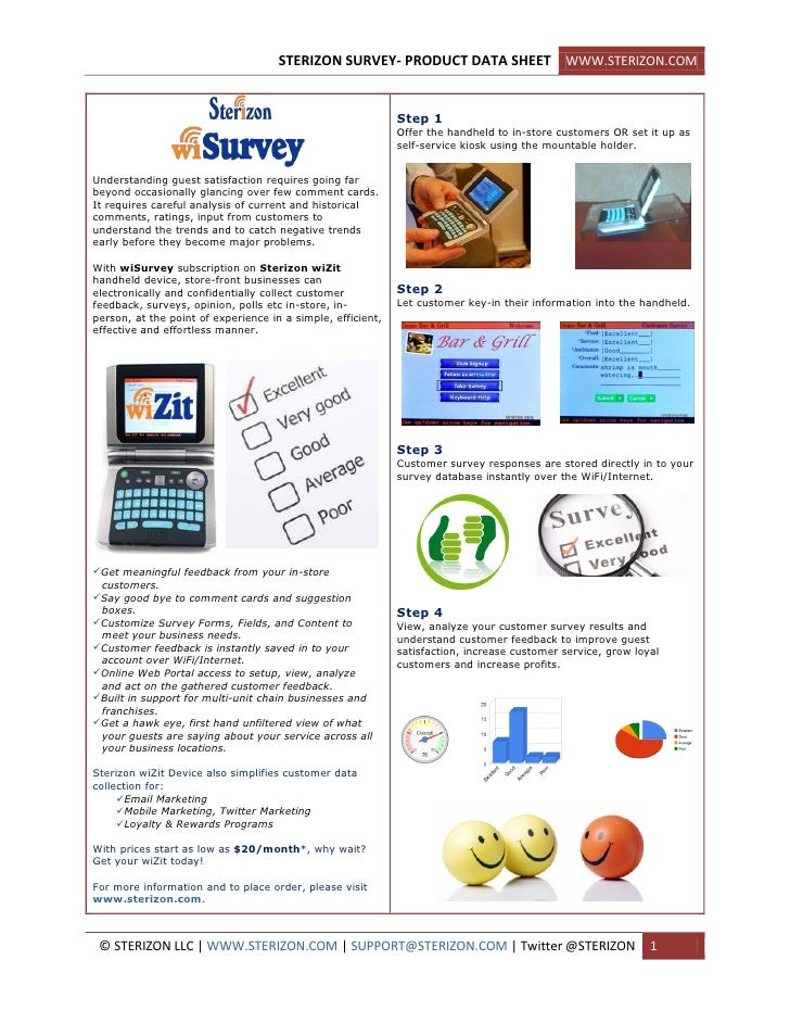 STERIZON SURVEY- PRODUCT DATA SHEET WWW.STERIZON.COM                                                                Step 1...