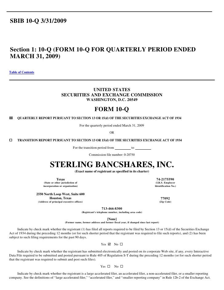 Q1 2009 Earning Report of Sterling Bancshares Inc.