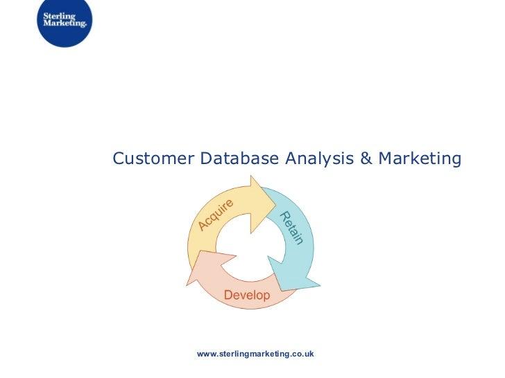 Customer Database Analysis & Marketing www.sterlingmarketing.co.uk