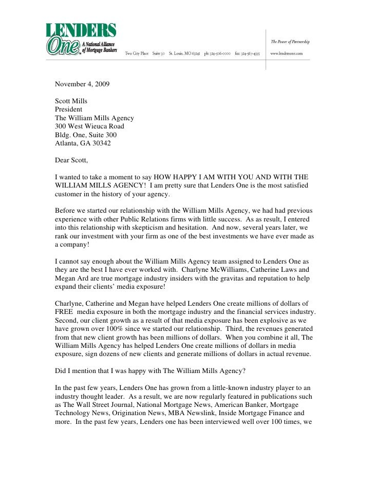 Thank You Letter To William Mills Agency