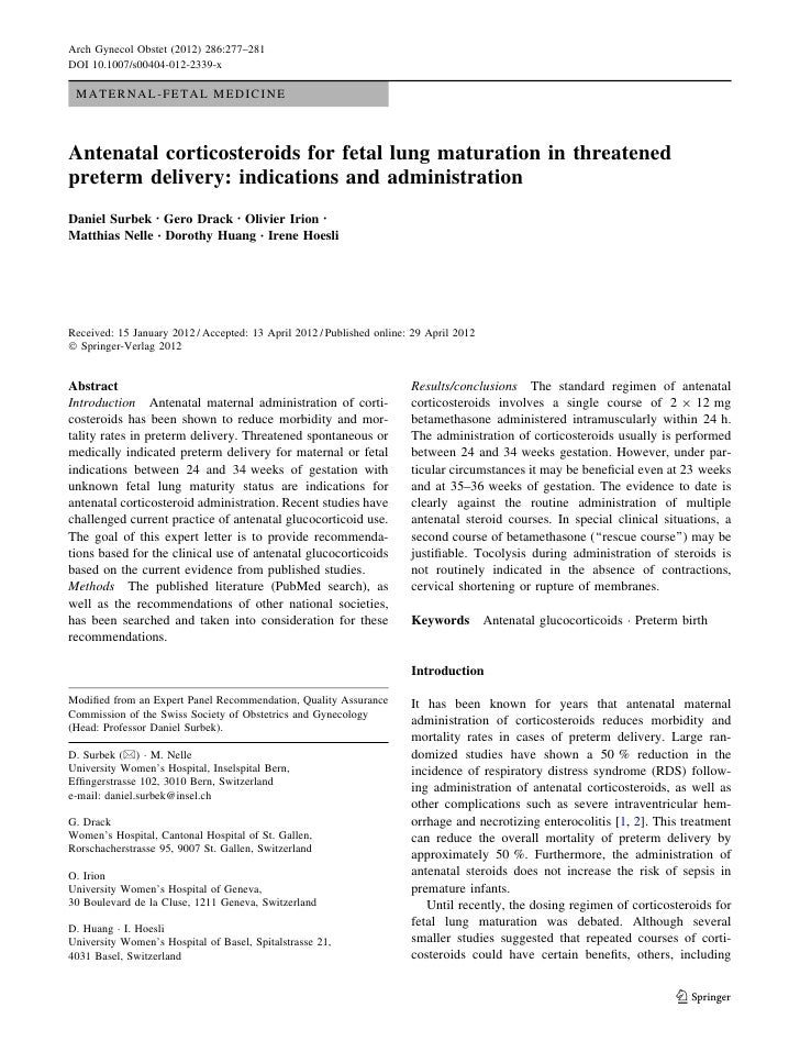 Arch Gynecol Obstet (2012) 286:277–281DOI 10.1007/s00404-012-2339-x MATERNAL-FETAL MEDICINEAntenatal corticosteroids for f...