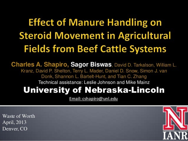 Effect of Manure Handling and Incorporation on Steroid Movement In Agricultural Fields Fertilized With Beef Cattle Manure