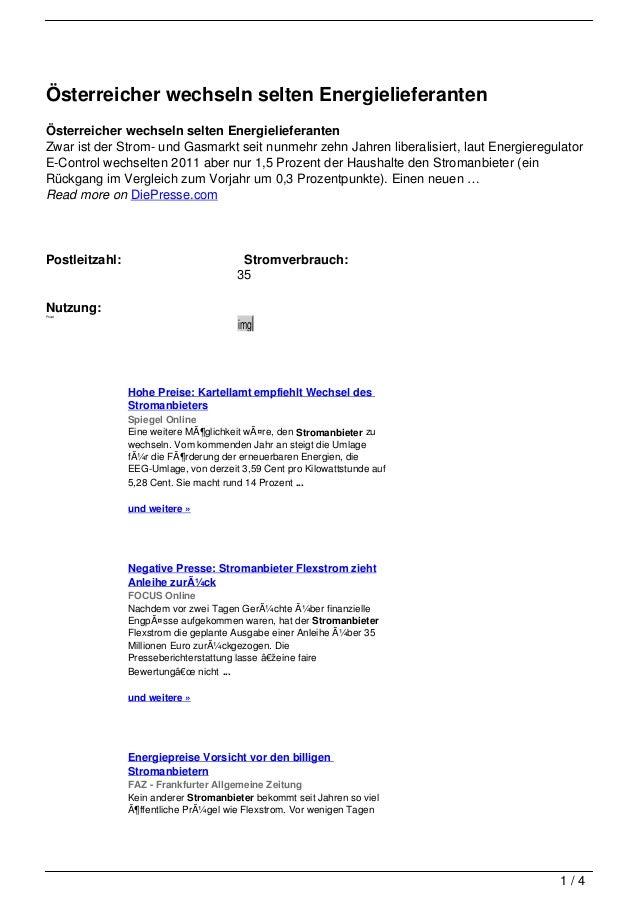 Österreicher wechseln selten EnergielieferantenÖsterreicher wechseln selten EnergielieferantenZwar ist der Strom- und Gasm...