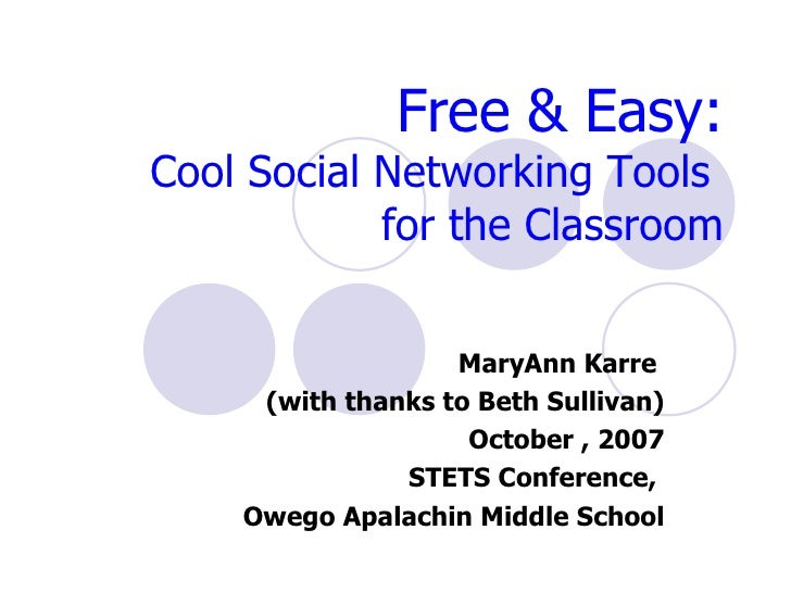 Free & Easy: Cool Social Networking Tools  for the Classroom MaryAnn Karre  (with thanks to Beth Sullivan) October , 2007 ...