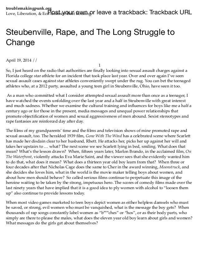 Steubenville, rape, and the long struggle to change | troublemakingpunk.org