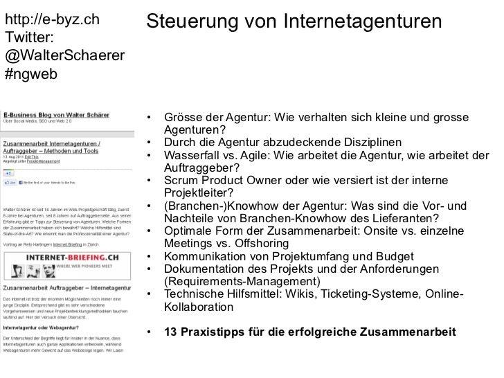 Steuerung von Internetagenturen <ul><ul><li>Grösse der Agentur: Wie verhalten sich kleine und grosse Agenturen? </li></ul...