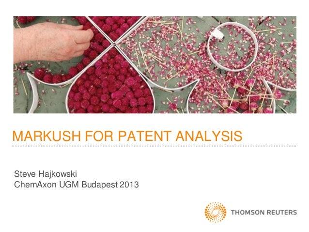 EUGM 2013 - Steve Hajkowski (Thomson Reuters): Patent analytics - what can Markush data tell us?