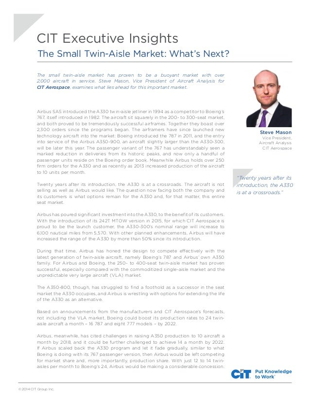 © 2014 CIT Group Inc. The small twin-aisle market has proven to be a buoyant market with over 2,000 aircraft in service. S...