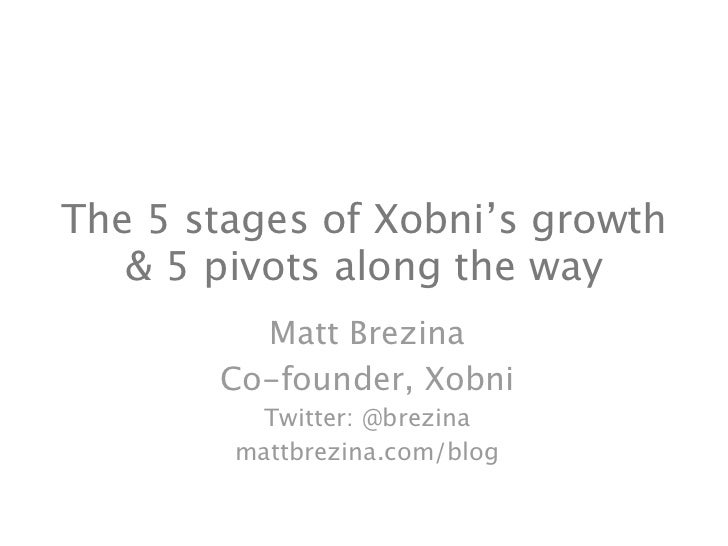 The 5 stages of Xobni's growth    & 5 pivots along the way          Matt Brezina        Co-founder, Xobni          Twitter...