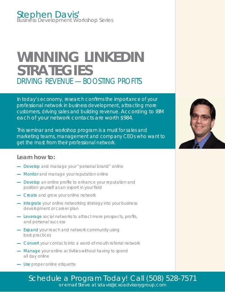 Steve Davis' Linkedin  for Business Development Workshop