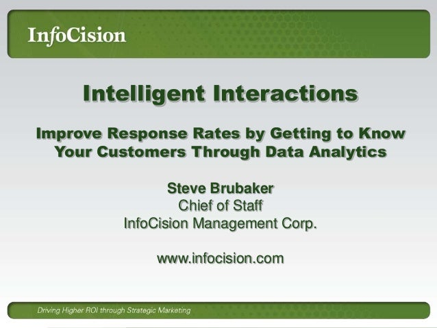Intelligent Interactions Improve Response Rates by Getting to Know Your Customers Through Data Analytics Steve Brubaker Ch...