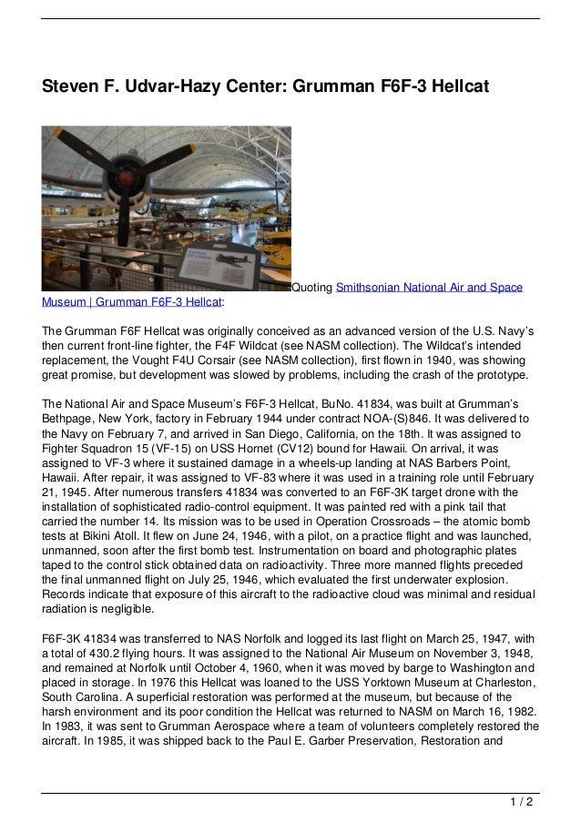 Steven F. Udvar-Hazy Center: Grumman F6F-3 Hellcat                                                   Quoting Smithsonian N...