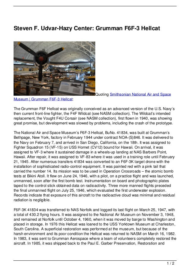 Steven F. Udvar-Hazy Center: Grumman F6F-3 Hellcat
