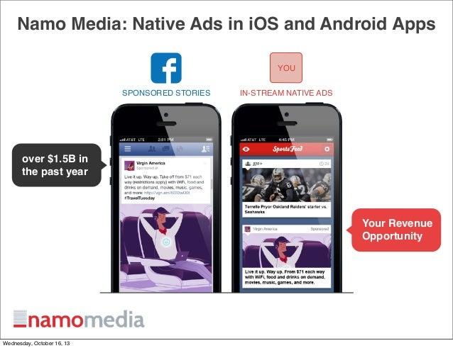 Namo Media: Native Ads in iOS and Android Apps YOU SPONSORED STORIES  IN-STREAM NATIVE ADS  over $1.5B in the past year  Y...