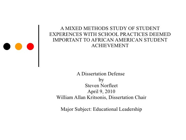 A MIXED METHODS STUDY OF STUDENT EXPERENCES WITH SCHOOL PRACTICES DEEMED IMPORTANT TO AFRICAN AMERICAN STUDENT ACHIEVEMENT...