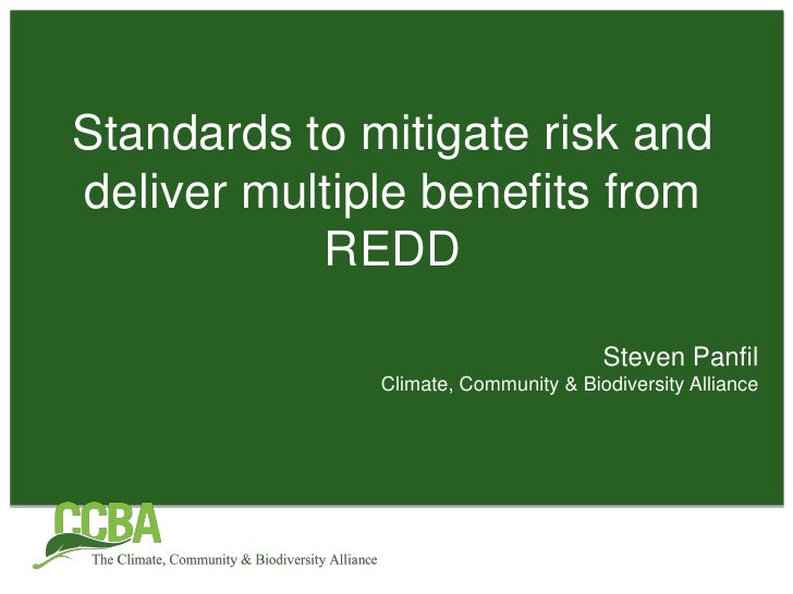 Standards to mitigate risk and deliver multiple benefits from REDD