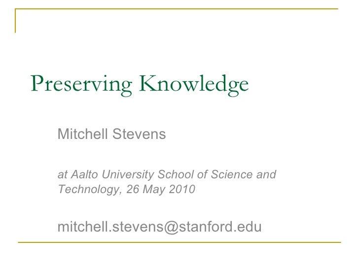 Stevens   preserving knowledge