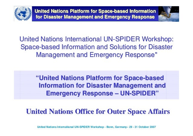 Space-based Information and Solutions for Disaster Management and Emergency Response