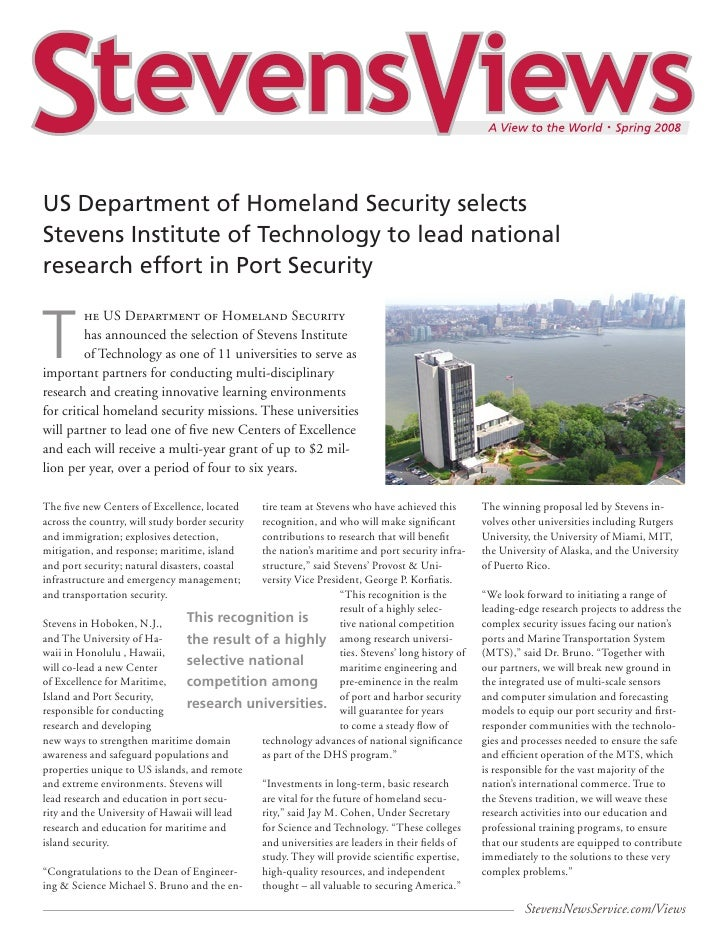 US Department of Homeland Security selectsStevens Institute of Technology to lead nationalresearch effort in Port Security...