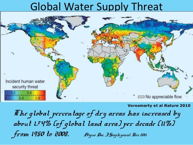 Global Water Supply Threat                                     Vorosmarty et al Nature 2010The global percentage of dry ar...