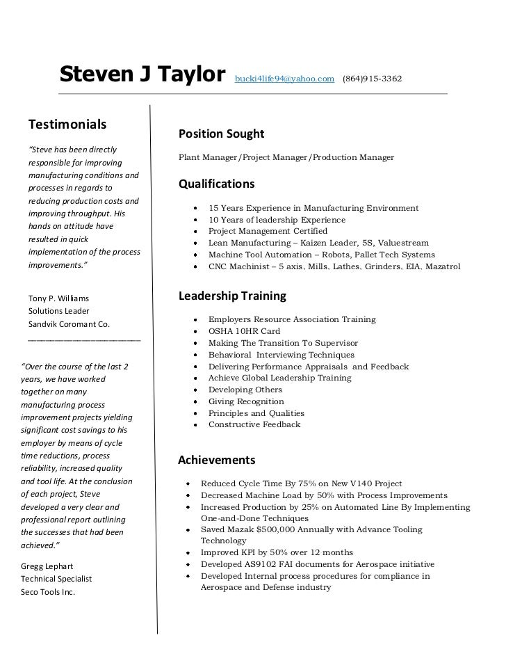Cnc machinist resume