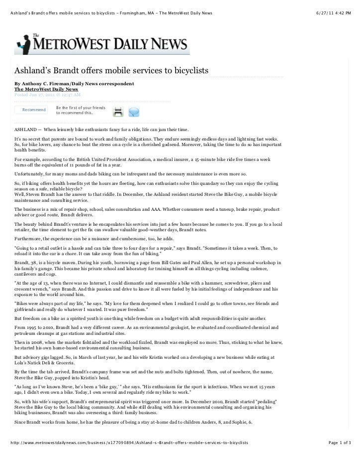 Ashland's Brandt offers mobile services to bicyclists - Framingham, MA - The MetroWest Daily News                         ...