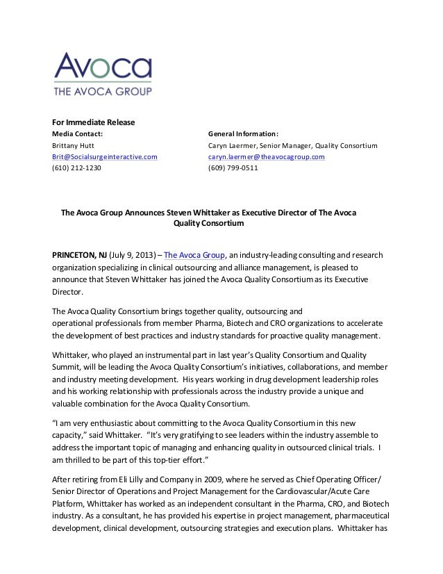 Avoca Press Release: Steve Whittaker