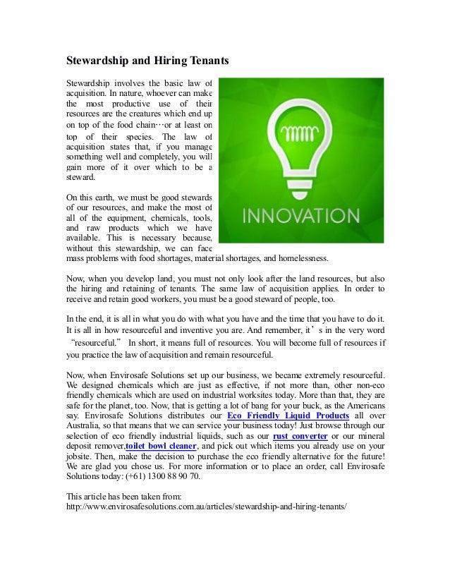 Stewardship and hiring tenants