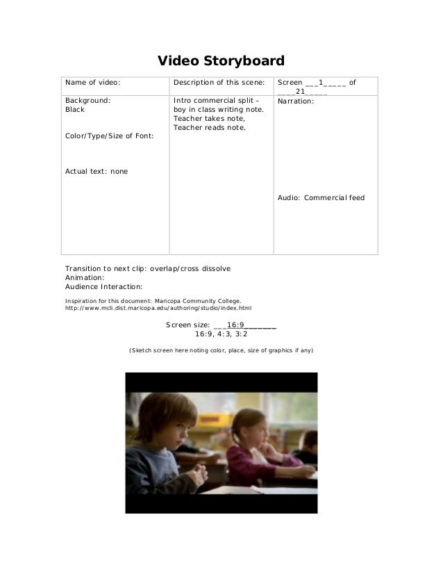Video Storyboard Name of video: Description of this scene: Screen ___1_____ of ____21_____ Background: Black Color/Type/Si...