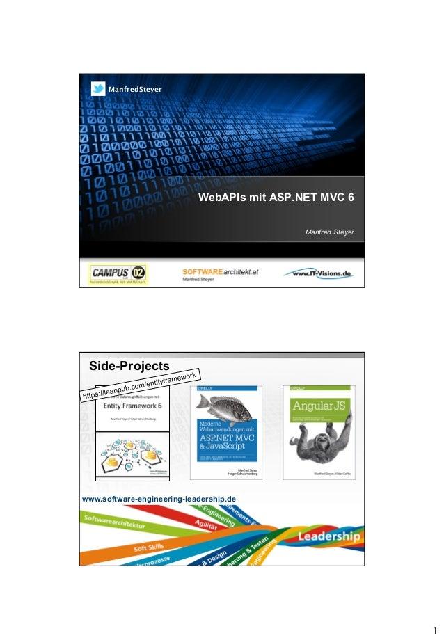 1 WebAPIs mit ASP.NET MVC 6 Manfred Steyer ManfredSteyer Side-Projects Page  2 www.software-engineering-leadership.de