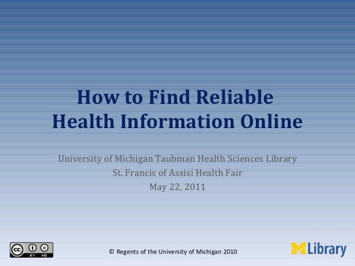 Finding Reliable Health Information Online: MedlinePlus, NIHSeniorHealth, ToxNet