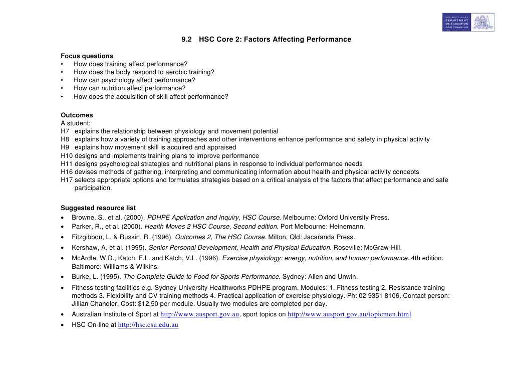 9.2 HSC Core 2: Factors Affecting PerformanceFocus questions•  How does training affect performance?•  How does the body r...