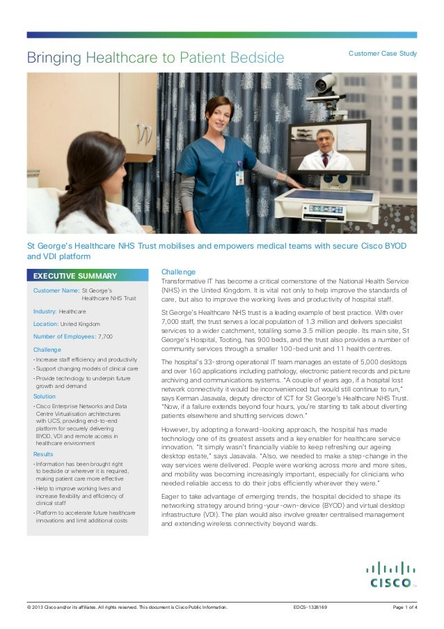 Bringing Healthcare to Patient Bedside  Customer Case Study  St George's Healthcare NHS Trust mobilises and empowers medic...