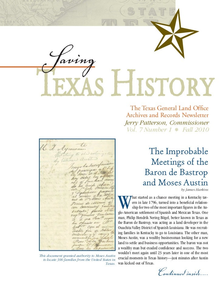 SavingTexas History                                              The Texas General Land Office                            ...
