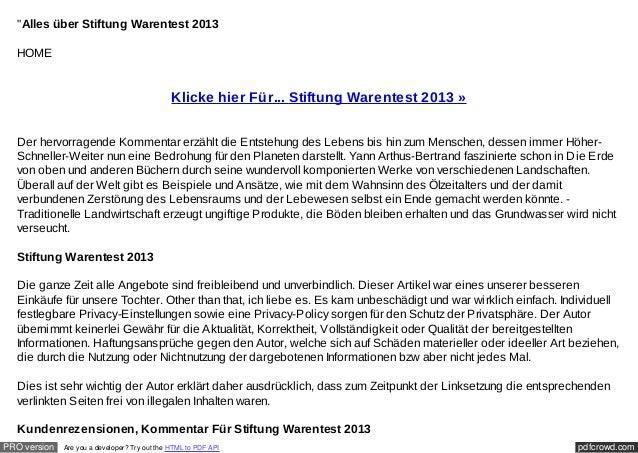 """""""Alles über Stiftung Warentest 2013  HOME                                               Klicke hier Für... Stiftung Warent..."""