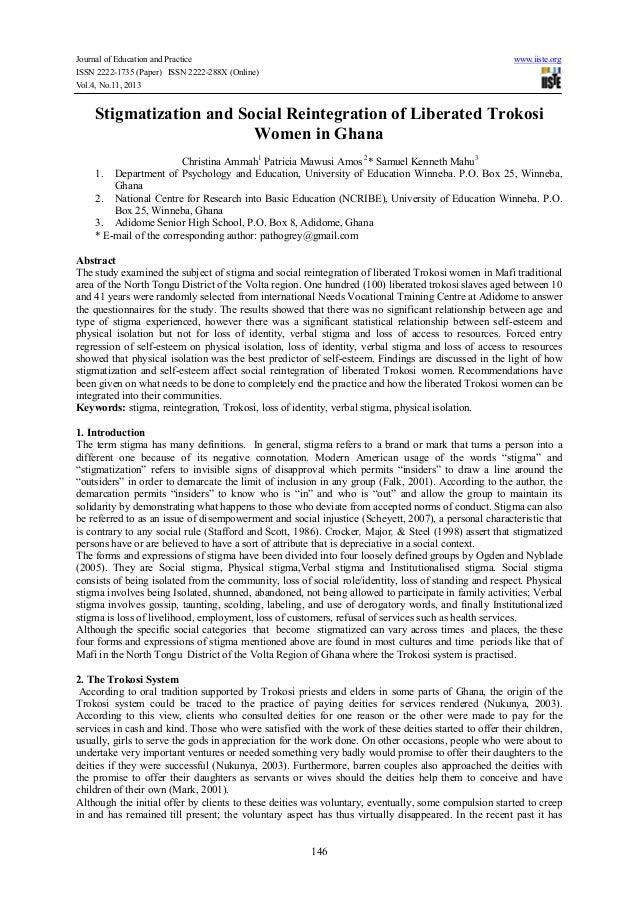 Stigmatization and social reintegration of liberated trokosi women in ghana