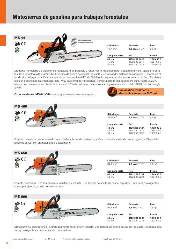 Stihl catalogo 2012 es for Precio de motosierra