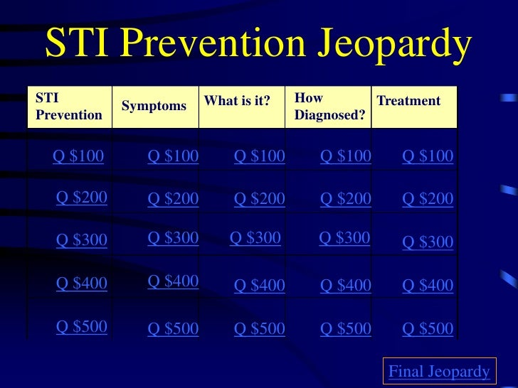 STI Prevention Jeopardy STI                      What is it?   How        Treatment              Symptoms Prevention      ...