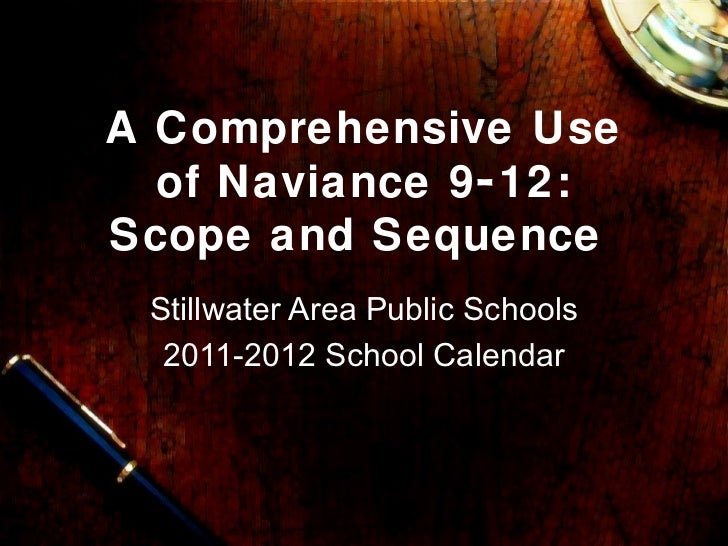 A Comprehensive Use  of Naviance 9- 12:Scope and Sequence Stillwater Area Public Schools  2011-2012 School Calendar