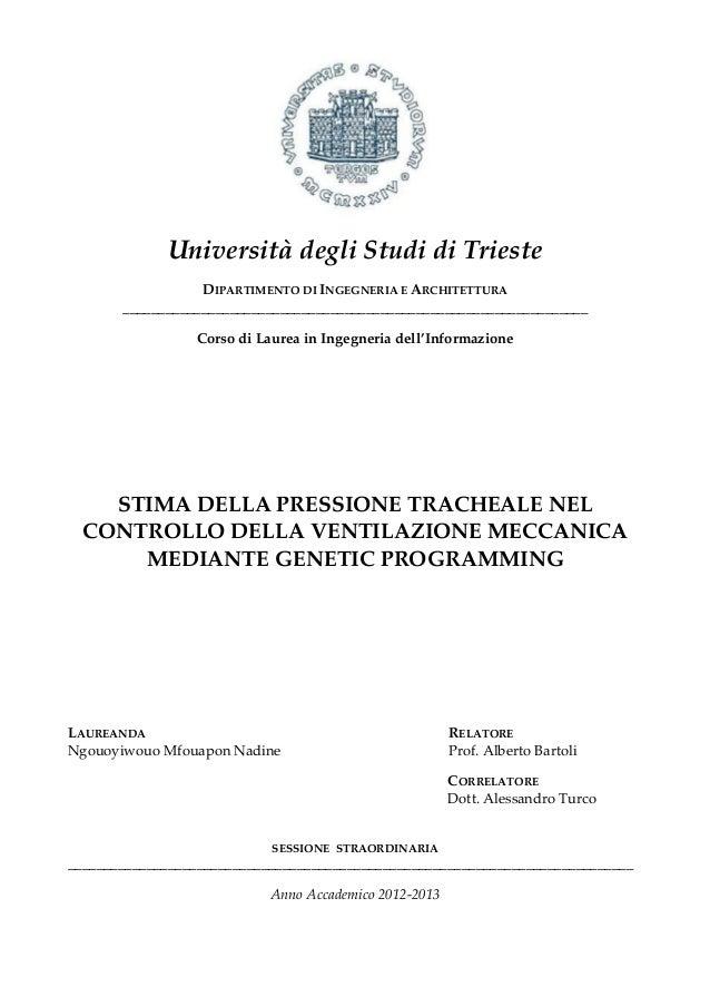Università degli Studi di Trieste DIPARTIMENTO DI INGEGNERIA E ARCHITETTURA ______________________________________________...
